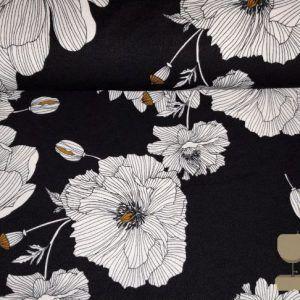 Scuba crepe bloem zwart wit