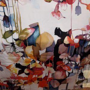 Katoen digitale print flower