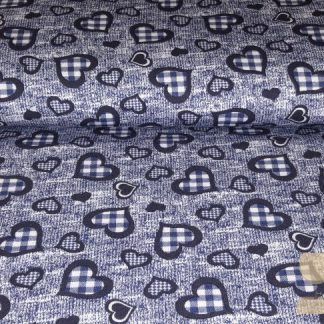 Viscose French Terry hartjes blauw