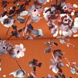 Scuba crepe watercolor flowers oranje