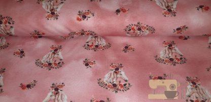 French terry roze met paardjes en bloemen