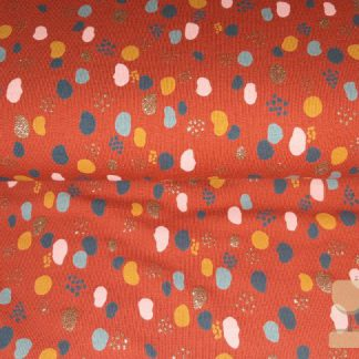 Tricot glitter dots roest poppy