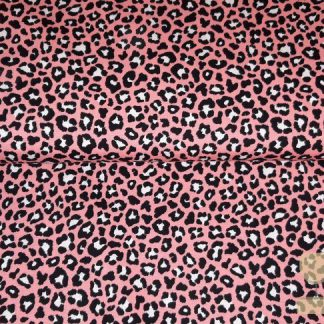Katoen panterprint roze Stenzo
