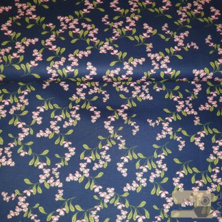 Katoen donkerblauw bloem