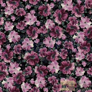 French terry digital spring flowers black